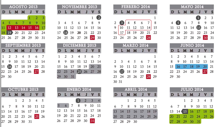 calendario sep ciclo 2013 - 2014